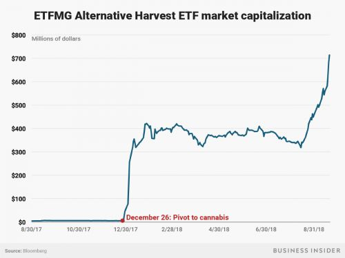 Hundreds of millions of dollars have surged into the US's only marijuana ETF amid the cannabis craze
