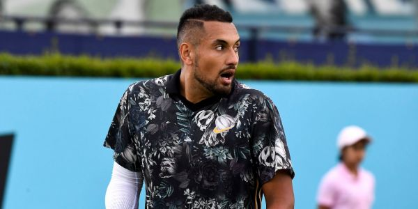 Tennis bad boy Nick Kyrgios' wild day included mocking an umpire's hat, blaming himself for playing video games until 3 AM, throwing his racket out of a stadium, and making a vulgar comment to booing fans