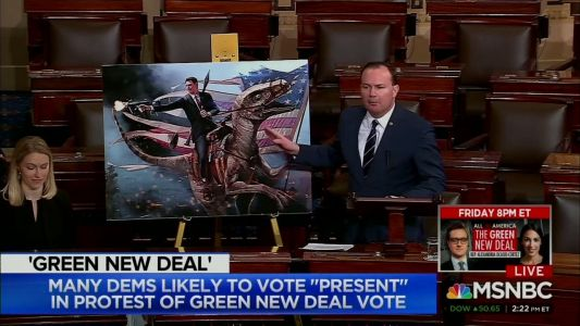 A GOP senator brought a giant picture of Ronald Reagan riding a dinosaur to argue against Democrats' Green New Deal. Here are 10 other wild props members have brought to the floor