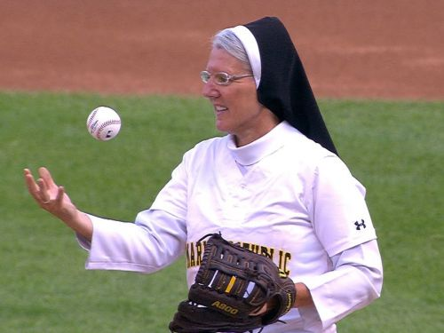 A nun threw a perfect first pitch at an MLB game - and people were seriously impressed