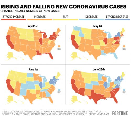4 maps show how coronavirus cases are changing in your state