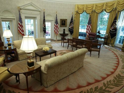 Trump insisted on hanging bright gold drapes in the Oval Office - here are past presidents' offices for comparison
