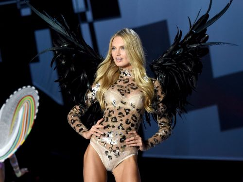 Model Romee Strijd shared a photo of the 27-pound, crystal-covered wings she will wear for the Victoria's Secret Fashion Show