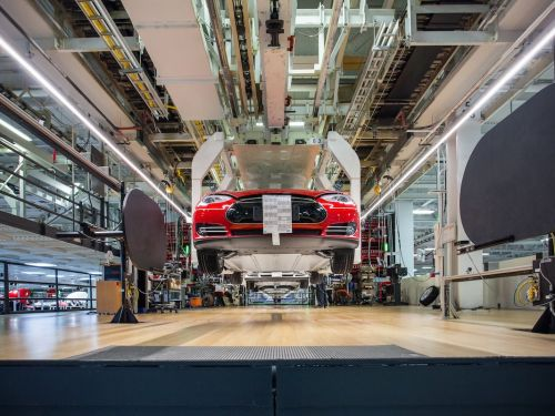 Tesla's new Model 3 assembly line is in a giant tent outside its Fremont factory