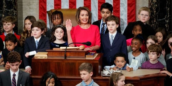 Nancy Pelosi invited 'all children' up to the podium as she was sworn in as House Speaker
