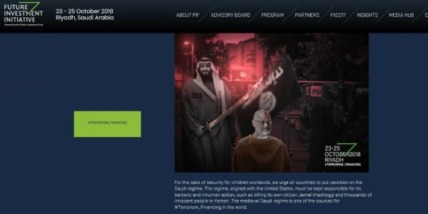 Hackers briefly commandeered the website for Saudi Arabia's big investment conference to send a message about Jamal Khashoggi