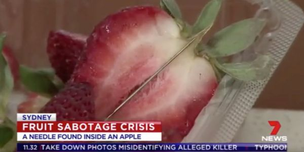 More than 100 Australians say they've found needles hidden in strawberries and other fruit
