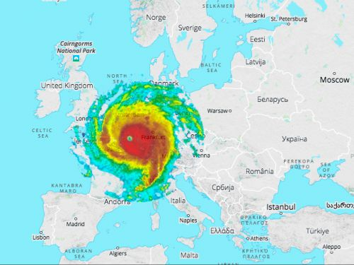 This map of how Hurricane Irma would look over Europe shows just how huge a storm it is