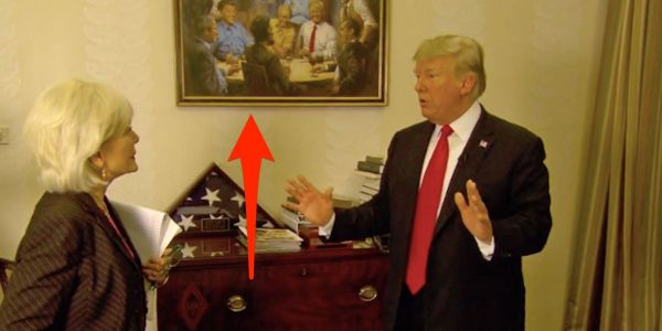 Donald Trump decorated the White House with a fantasy scene of him hanging out with past Republican presidents