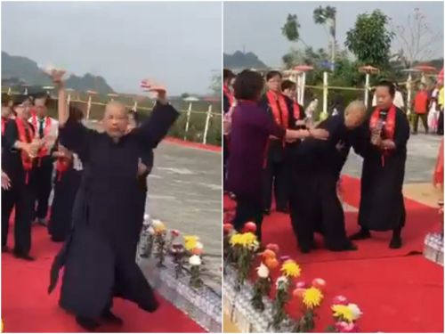 A Buddhist master in Taiwan blessed a temple by spinning around 150 times, but then threw up on the carpet