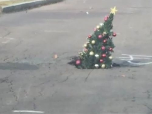 People in a small Pennsylvania city are using a Christmas tree to fill a persistent pothole