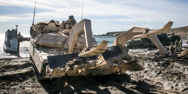 The Marines are talking about building big robots to clear mines in the surf for beach assaults