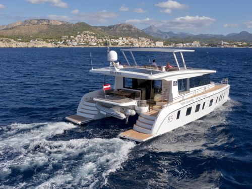 A solar-powered yacht that claims to be virtually silent as it cruises is on the market for $1.54 million - here's a look inside
