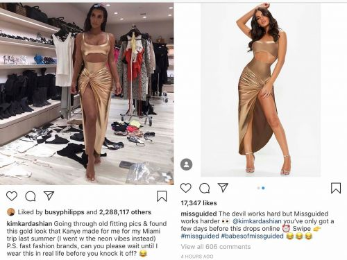 Kim Kardashian is suing fast-fashion brand Missguided for $10 million after the company ripped off her outfit mere hours after she posted it on Instagram