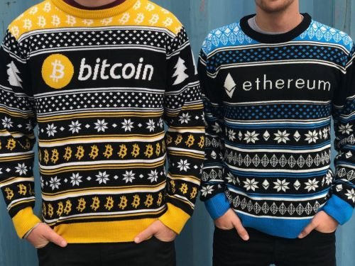 An 'ugly Christmas sweater' company is making a fortune on these bitcoin and Ethereum sweaters - and the crypto crowd loves them