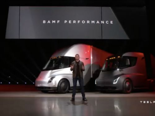 Tesla just unveiled its first electric semi - and it looks like a spaceship